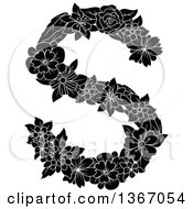 Clipart Of A Black And White Floral Uppercase Alphabet Letter S Royalty Free Vector Illustration