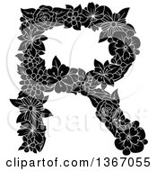Clipart Of A Black And White Floral Uppercase Alphabet Letter R Royalty Free Vector Illustration