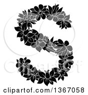 Clipart Of A Black And White Floral Lowercase Alphabet Letter S Royalty Free Vector Illustration