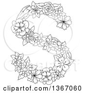 Clipart Of A Black And White Lineart Floral Uppercase Alphabet Letter S Royalty Free Vector Illustration