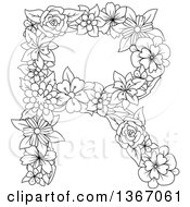 Clipart Of A Black And White Outline Floral Uppercase Alphabet Letter R Royalty Free Vector Illustration