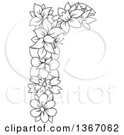 Clipart Of A Black And White Outline Floral Lowercase Alphabet Letter R Royalty Free Vector Illustration