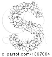 Clipart Of A Black And White Lineart Floral Lowercase Alphabet Letter S Royalty Free Vector Illustration