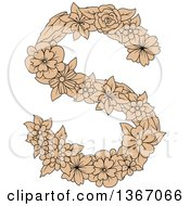 Clipart Of A Tan Floral Uppercase Alphabet Letter S Royalty Free Vector Illustration