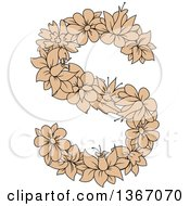 Clipart Of A Tan Floral Lowercase Alphabet Letter S Royalty Free Vector Illustration