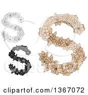 Clipart Of Floral Uppercase Alphabet Letter S Designs Royalty Free Vector Illustration