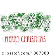 Clipart Of A Merry Christmas Greeting With Green And White Snowflakes And Shading On White Royalty Free Vector Illustration