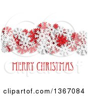 Clipart Of A Merry Christmas Greeting With Red And White Snowflakes And Shading On White Royalty Free Vector Illustration
