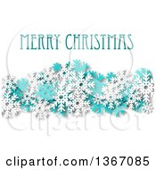 Clipart Of A Merry Christmas Greeting With Turquoise And White Snowflakes And Shading On White Royalty Free Vector Illustration