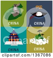 Clipart Of China Designs Royalty Free Vector Illustration