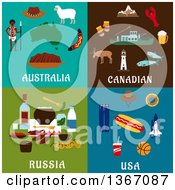 Clipart Of Australia Canadian Russia And Usa Designs Royalty Free Vector Illustration by Seamartini Graphics
