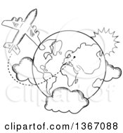 Clipart Of A Black And White Sketched Airplane And Earth Royalty Free Vector Illustration