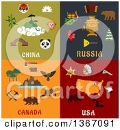 Clipart Of China Russia Canada And USA Designs Royalty Free Vector Illustration by Vector Tradition SM