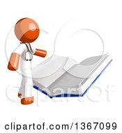 Clipart Of An Orange Man Doctor Or Veterinarian Reading A Giant Book Royalty Free Illustration
