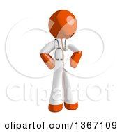 Clipart Of An Orange Man Doctor Or Veterinarian Standing With Hands On His Hips Royalty Free Illustration