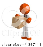 Clipart Of An Orange Man Doctor Or Veterinarian Holding A Box Royalty Free Illustration by Leo Blanchette
