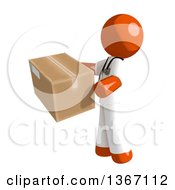 Clipart Of An Orange Man Doctor Or Veterinarian Holding A Box Facing Left Royalty Free Illustration by Leo Blanchette