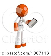 Clipart Of An Orange Man Doctor Or Veterinarian Looking At A Smart Phone Royalty Free Illustration by Leo Blanchette