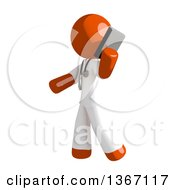 Clipart Of An Orange Man Doctor Or Veterinarian Talking On A Smart Phone Royalty Free Illustration by Leo Blanchette