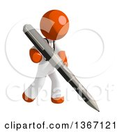 Clipart Of An Orange Man Doctor Or Veterinarian Holding A Pen Royalty Free Illustration by Leo Blanchette