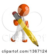 Clipart Of An Orange Man Doctor Or Veterinarian Holding A Pencil Royalty Free Illustration by Leo Blanchette