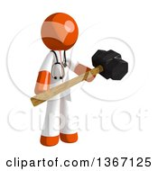 Clipart Of An Orange Man Doctor Or Veterinarian Holding A Sledgehammer Royalty Free Illustration