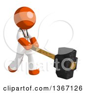 Clipart Of An Orange Man Doctor Or Veterinarian Swinging A Sledgehammer Royalty Free Illustration