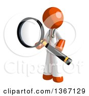 Clipart Of An Orange Man Doctor Or Veterinarian Searching With A Magnifying Glass Royalty Free Illustration by Leo Blanchette