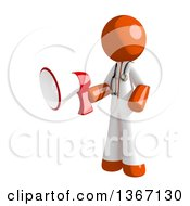 Clipart Of An Orange Man Doctor Or Veterinarian Holding A Megaphone Royalty Free Illustration
