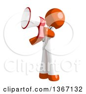 Clipart Of An Orange Man Doctor Or Veterinarian Announcing With A Megaphone Royalty Free Illustration