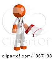 Clipart Of An Orange Man Doctor Or Veterinarian Holding A Megaphone Royalty Free Illustration by Leo Blanchette