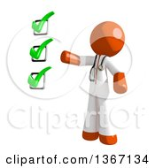 Clipart Of An Orange Man Doctor Or Veterinarian Presenting A Check List Royalty Free Illustration by Leo Blanchette