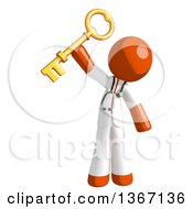 Clipart Of An Orange Man Doctor Or Veterinarian Holding A Skeleton Key Royalty Free Illustration by Leo Blanchette