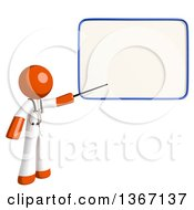 Clipart Of An Orange Man Doctor Or Veterinarian Holding A Pointer Stick To A White Board Royalty Free Illustration