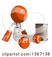 Clipart Of An Orange Man Doctor Or Veterinarian Beggar Sitting With A Can Royalty Free Illustration