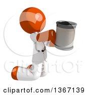 Orange Man Doctor Or Veterinarian Beggar Kneeling With A Can