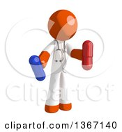 Clipart Of An Orange Man Doctor Or Veterinarian Holding Pills Royalty Free Illustration by Leo Blanchette