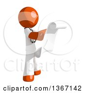 Clipart Of An Orange Man Doctor Or Veterinarian Reading A List Facing Right Royalty Free Illustration by Leo Blanchette