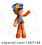 Clipart Of An Orange Man Police Officer Waving Royalty Free Illustration by Leo Blanchette