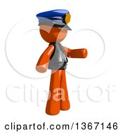 Clipart Of An Orange Man Police Officer Presenting To The Right Royalty Free Illustration
