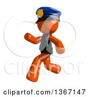 Clipart Of An Orange Man Police Officer Running To The Left Royalty Free Illustration