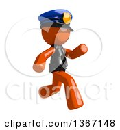 Clipart Of An Orange Man Police Officer Running To The Right Royalty Free Illustration
