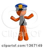 Clipart Of An Orange Man Police Officer Shrugging Royalty Free Illustration