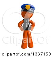 Clipart Of An Orange Man Police Officer With Hands On His Hips Royalty Free Illustration
