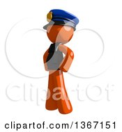 Clipart Of An Orange Man Police Officer With Hands On His Hips Facing Left Royalty Free Illustration