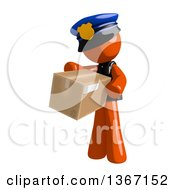 Clipart Of An Orange Man Police Officer Carring A Box Royalty Free Illustration by Leo Blanchette