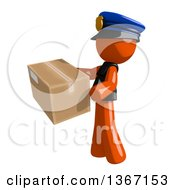 Clipart Of An Orange Man Police Officer Carring A Box Facing Left Royalty Free Illustration by Leo Blanchette