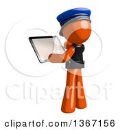 Clipart Of An Orange Man Police Officer Using A Tablet Computer Royalty Free Illustration