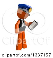 Clipart Of An Orange Man Police Officer Looking At A Smart Phone Royalty Free Illustration