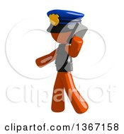 Clipart Of An Orange Man Police Officer Talking On A Smart Phone Royalty Free Illustration